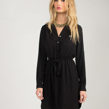 Long Sleeve Blouse Dress - Black /