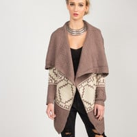 Aztec Print Knitted Holiday Cardigan - Mauve - Mauve /