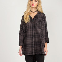 Oversized Dolman Flannel Shirt - Charcoal /