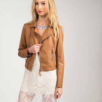 Zippered Leather Jacket - Tan /