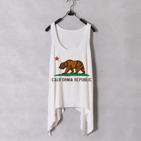 California Flag - Women Tank Top - White - Sides Drop