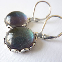 Purple Green Earrings, Color Shifting, Leverback Earrings
