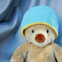 Crochet Cotton Kids Hat Aqua Blue with Yellow Trim