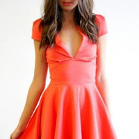 Coral Short Sleeve Dress with Deep V-Neck&amp;Pleated Skirt