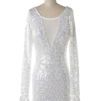 Invite Only Plunge Neck Sequin Dress - White SHIPS 12/19!