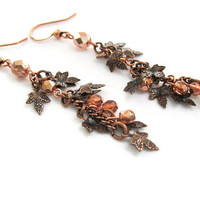 Autumn Leaf Earrings in Antique Copper Finish, Dainty Dangling Leaves Earrings, Fall Jewelry