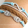 Bracelet--infinity bracelet, owls bracelet, braid leather bracelet, SALE