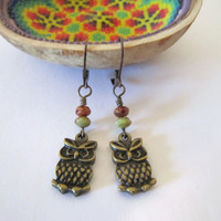 Owl Earrings - with Czech Glass beads by 636designs