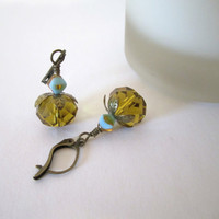 Glass Bead Earrings - Citrine/Gold