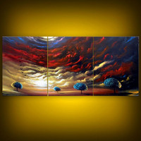 red yellow blue painting abstract triptych large Original Painting tree painting huge surreal red thick paint modern landscape 54 x 24