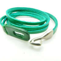 Adjustable Punk Green Leather  Bracelet  mens bracelet cool bracelet jewelry bracelet bangle bracelet  cuff bracelet 1173S
