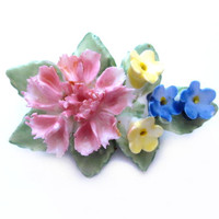 Vintage Porcelain Brooch, Ceramic China Flower Pin
