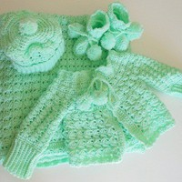 Crocheted Pale Green Infant Set