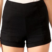 High-Waisted Twill Shorts