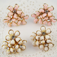 Vintage Chic Thermoset Pink and White Flower Rhinestone Cluster Earrings Mix ( 2 pair)