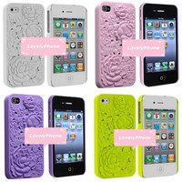 3D Rose iPhone Case for Iphone 4 4S in 4 colors