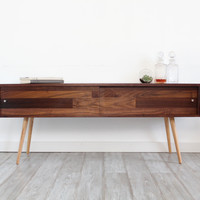 T.V. Stand With Sliding Doors, Walnut