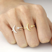 Crescent moon and tiny Star ring in 3 colors, R0319K