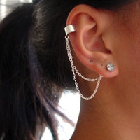 Double Chain Earring Back Ear Cuff
