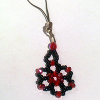 Black & Red Bead Woven Floral Purse / Phone Charm