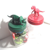 Christmas Plastic Dinosaur Jars or Storage Containers - Green and Red - set of 2 - Office, Dorm, Kitchen