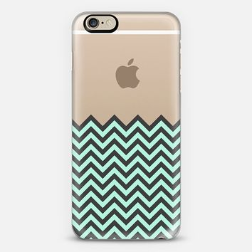 Dipped in Mint and Charcoal Chevron iPhone 6 case by Organic Saturation | Casetify