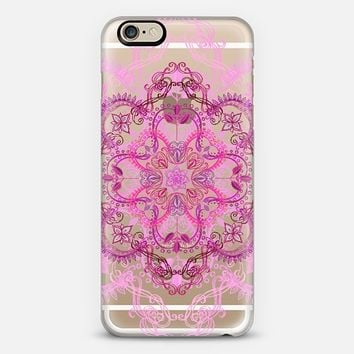 Art Nouveau Lace in Magenta & Berry Pink on Transparent iPhone 6 case by Micklyn Le Feuvre | Casetify