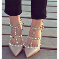 Ankle Strap Studded Pointed Toe Heels - Point Toe Heel /