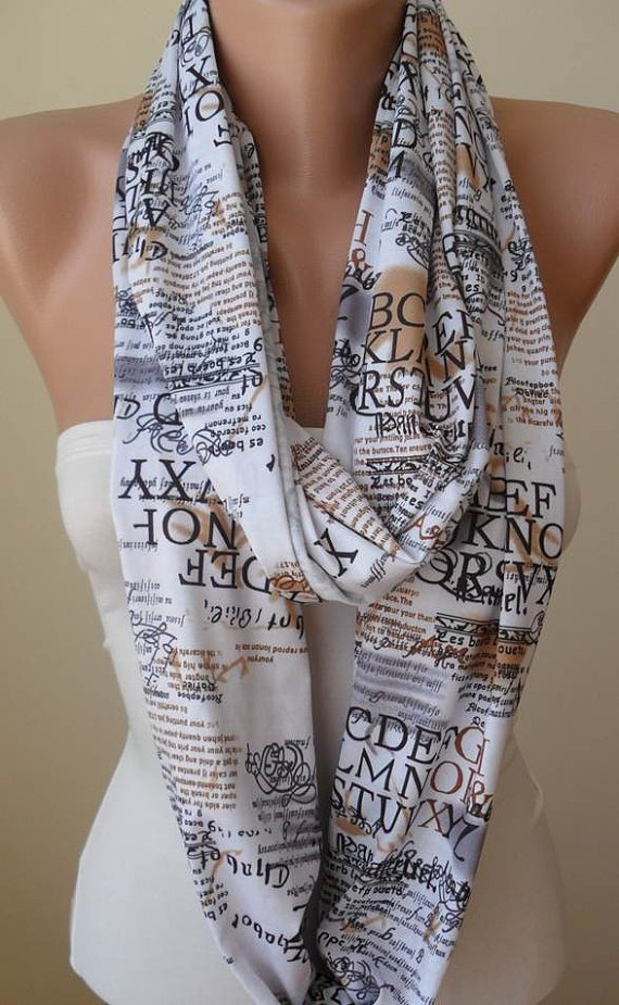 Infinty Scarf - Circle Scarf  -  Loop Scarf - White - Written Scarf - Cotton Jersey