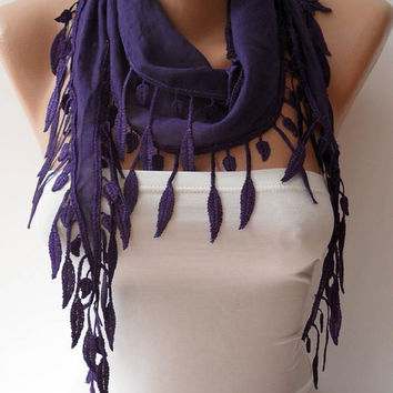 Purple Scarf with Trim Edge - Lightweight Cotton Scarf