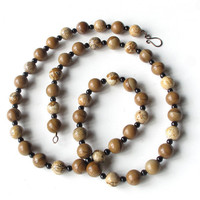 Long beaded necklace - Gorgeous tan, beige, brown, cream and black Picture Jasper stone