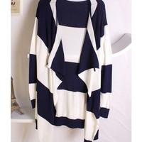 Women Autumn New Style No Button Preppy Style Long Sleeve Kntting Sweater Blue One Size@WH0059bl $13.16 only in eFexcity.com.
