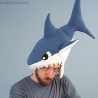 Fleece Shark Hat  Dark Blue by ObeyMyBrain on Etsy