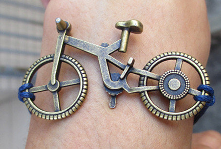 Anchor-antique bronze s3d love bike bracelet with blue wax cord bracelet,purple wax cords bracelet