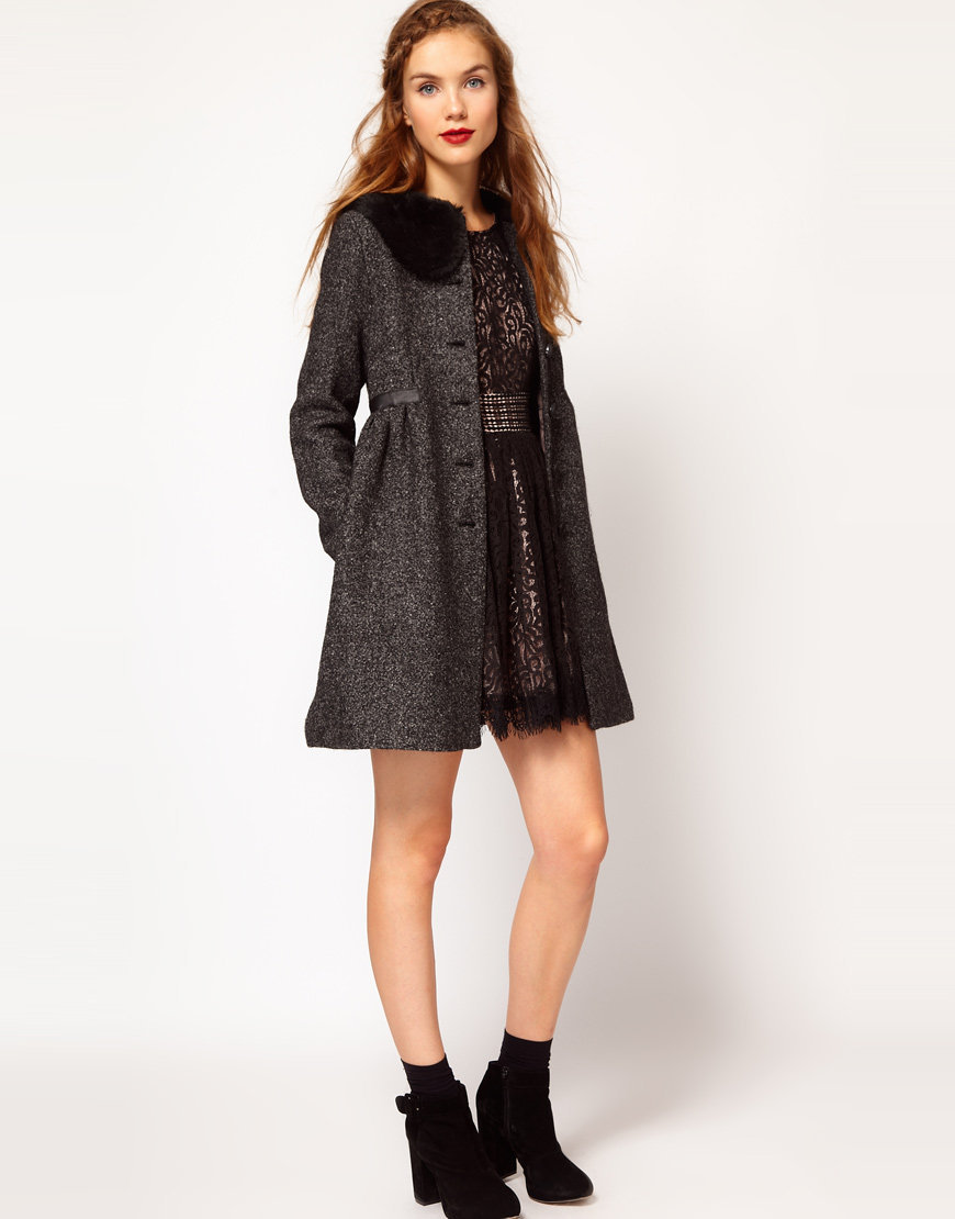 Darling Fur Collar Tweed Princess Coat at asos.com