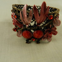 Bracelet Antique Brass Flower Red Rhinestone Cuff from Eves Home Decor and Jewelry