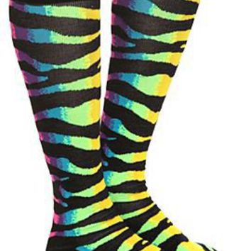 Rainbow Zebra Stripe Knee-High Socks - 172715