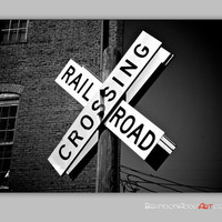 Railroad Crossing Sign, Train Photo, Urban Photo Wall Decor