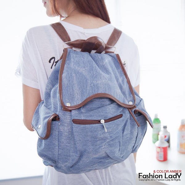 YESSTYLE: Fashion Lady- Faux-Leather Trim Denim Backpack (Light Blue - One Size) - Free International Shipping on orders over $150