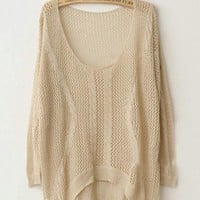 Twist Hollow-out Beige Sweater $42.00