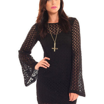 GYPSY WARRIOR - Crochet Bell Sleeve Mini Dress