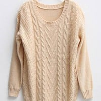 Twist Round Neck Beige Sweater$45.00