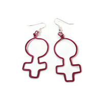 Jewelry Earrings Feminist Woman Symbol Pink 138