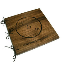 Custom Wooden Photo Album Holds 10x10 pages - Personalized Wood Scrapbook -Woodburnt With Your Design