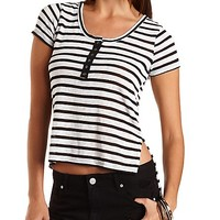 Striped High-Low Henley Tee by Charlotte Russe - Black Combo