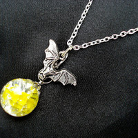 Bat Yellow Fried Marble Glass Charm Chain Necklace