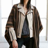 BDG Knit Mix Stripe Blanket Open Poncho - Urban Outfitters