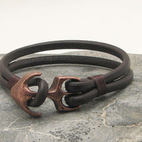 FREE SHIPPING. Black leather cooper plated anchor clasp men's bracelet.
