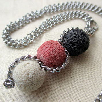 GIFT IDEA for her!! Gorgeous and origlinal handmade stainless steel and lava-beads necklace (ivory-pink-black) FREE gift packaging!111