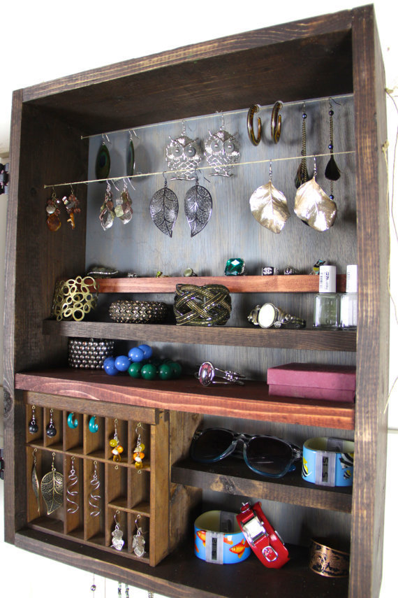 Unique Hanging Jewelry Organizer made from repurposed wood... Handmade by TangleandFold